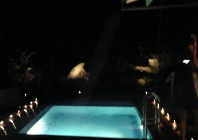 Däcksbelysning vid pool